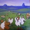 Three French Hens, acrylic 30 x 30cms $160
